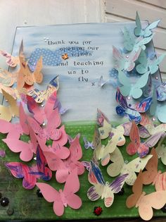 Beautiful thank you gift for a teacher. Fully personalised with children's individual messages on each butterfly. £45 from suvihelander@hotmail.com
