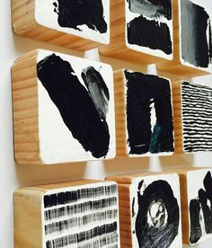 These Set of 36 Black & White (with a touch of grey and a hint of blue) Modern Scandinavian modern painted wall wood cube sculptures are a perfect art statement for your home, office, corporate offices, commercial lobby, hotel, hospital or any public space. Our bold abstract art is created by using pieces of genuine solid pine wood. We skillfully paint each block with the finest acrylic medium using art knife and fine brush techniques, we leave the edges raw to give a natural organic elem...