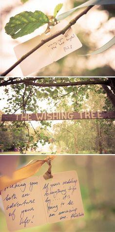 Laat je gasten alle wensblaadjes aan de takken van je boom ophangen en maak er een echte wensboom van! #wishcards #wishtree #party #garden
