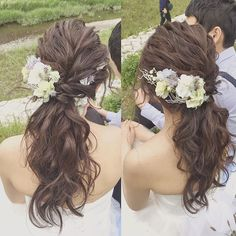 Yuko FujiiさんはInstagramを利用しています:「ローポニー🐴 ロケーションにぴったんこ‼︎ ・ 長さがあるそこの新婦様(*・ω・)ノ ナチュラルで可愛いですよ〜 ・ ・ #ヘアスタイル #hairmake #ヘアアレンジ #ブライダル #bridal #marriage #hairstyle #プレ花嫁 #花嫁…」 Asian Wedding Makeup, Bridal Makeup, Formal Hairdos, Bridal Hairdo, Hair Reference, Floral Hair, Hair Designs, Wavy Hair, Hair Pieces
