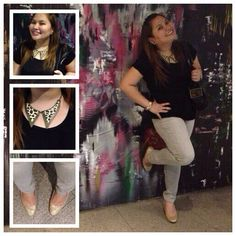 Office outfit! ;) #accesories #leopardnecklace #goldshoes #blackblouse #ootd #officeattire
