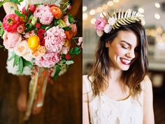 Bird Dog Florals colorful bouquet and gold fern flower crown  Lovely Voyage Photography at Palm Door in Austin, Texas