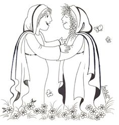 Mary Visits Elizabeth Coloring Page
