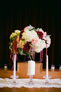 Blush, burgundy and cream centerpiece with touches of green :: flowers by Blue Bouquet :: photo by Alea Lovely