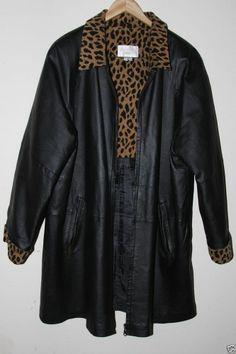 Studio C Plus Size 18/20 Women's Zip Lined Leather Jacket Animal Print Collar