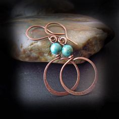 Rustic Turquoise and Copper Hoop Earrings  Wire by HopeCreations, $26.00