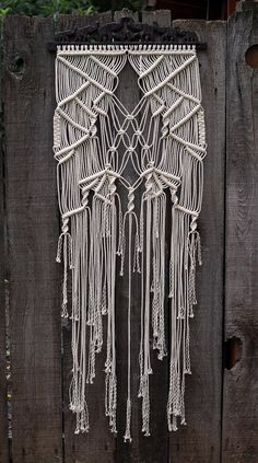 Macramé Wall Hanging on Vintage Wood Carved into Elephants