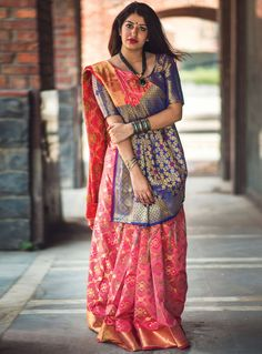Pink banarasi art silk sari paired with banarasi art silk unstitched blouse. This sari is beautified with weaving work all over the sari and blouse. This sari measures meter, including a meter blouse piece. Sarees Online India, Silk Sarees Online, Saree Draping Styles, Saree Styles, Drape Sarees, Raw Silk Saree, Chiffon Saree, Cotton Saree, Brocade Blouses