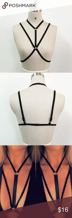 New Bra Harness Black S Bikini Underwear Sexy Size Small, New with tags/packaging. Black harness style open bra, great with plunge tops. From Nastygal. Nasty Gal Intimates & Sleepwear Bras