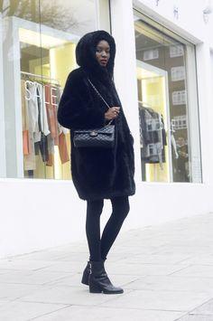 Monki faux fur jacket. Asos leggings. Zara boots. Chanel bag
