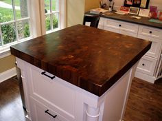 Dark wood & butchers block, contrasting island