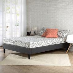 9bd48d28e31 Priage Essential Upholstered Queen-size Platform Bed Frame with Wood Slat  Support Full Size Platform. overstock.com
