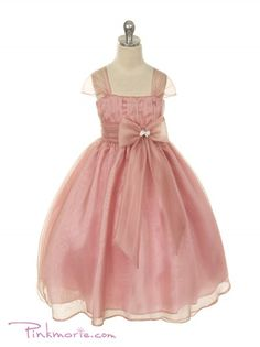 Rose Soft Colored Crystal Organza Two Layered Girl Dress