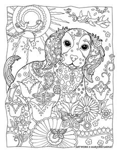 """Creative Haven Dazzling Dogs Coloring Book by Marjorie Sarnat, """"Sunshine"""""""