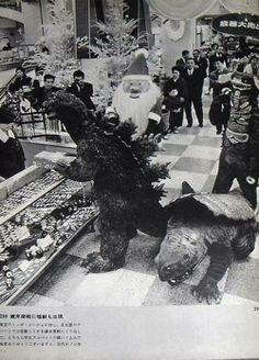 Godzilla picking out a Christmas gift.