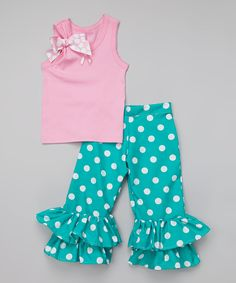 Look at this Beary Basics Pink & Teal Dot Ruffle Tank & Pants - Infant, Toddler & Girls on #zulily today!