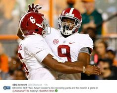 Amari Cooper 224 receiving yards are the most in a game in Alabama history! Roll Tide Roll! Alabama 34 Tenn 20. Oct. 25, 2014