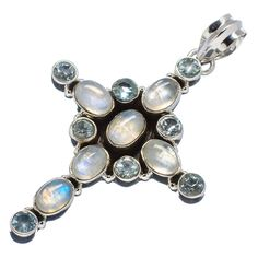 "Rainbow Moonstone, Blue Topaz Cross 925 Sterling Silver Pendant 2 1/4"" PD508309"