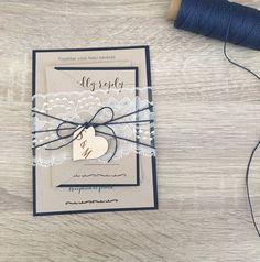 Navy blue wedding invitation lace wedding by RusticInvitesAndmore