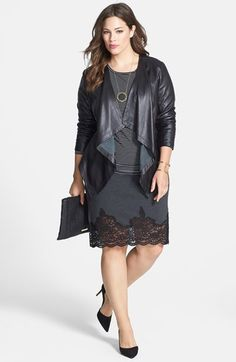 Sejour Waterfall Front Leather Jacket & Jersey Tee, Vince Camuto Knit Pencil Skirt (Plus Size) Plus Size Leather Jacket, Leather Blazer, Curvy Fashion, Plus Size Fashion, Curvy Outfits, Fashion Outfits, Fasion, Plus Size Dresses, Plus Size Outfits