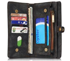 CaseMe 008 iPhone 7 Plus Detachable 2 in 1 Zipper Wallet Folio Case Black