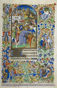 Bedford Hours - caption: 'Hours of the Passion [Sext]. Christ carrying the cross. Decorated borders with marginal scenes including the dream...
