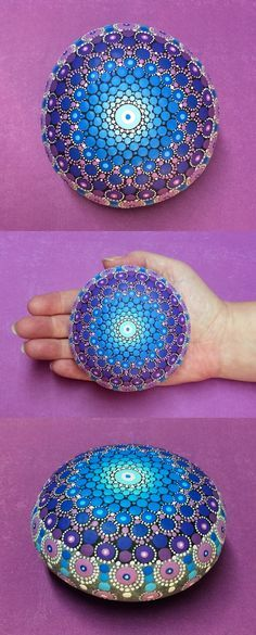 Mandala Stone (Large) by Kimberly Vallee: Hand painted with acrylic and…