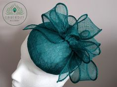 Teal cocktail hat - Jade formal wedding hat - Green occasion hat -  Turquoise pillbox - Sinamay bow hat - Mother of bride hat ~ EVELYN d11e65306fa