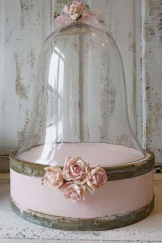 Large glass bell jar w/ unique base shabby cottage chic pink rose adorned dome…
