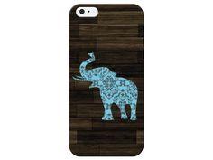 Wood Grain Light Blue Elephant Phone Case