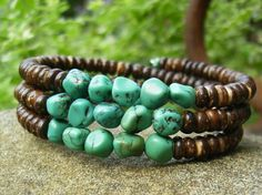 Turquoise Nugget Bracelet, Brown Coconut Shell Heishi Beads, Casual Blue Green Genuine Gemstone Stacked Silver Memory Wire Bracelet