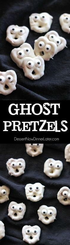 Ghost Pretzels - White chocolate dipped pretzels are made into ghosts with candy eyes and a little bit of imagination. Perfect for a Halloween party!