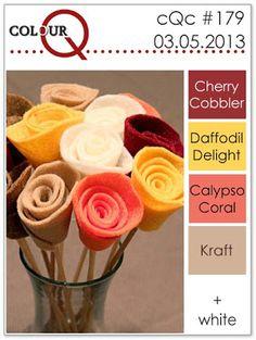 colourQ #179: March 2013 Cherry Cobbler Daffodil Delight Calypso Coral Kraft + White