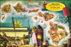 Map Of Hawaii, Fly To Hawaii, Oahu Vacation, Hawaiian Art, Vintage Hawaiian, Air And Space Museum, Hawaiian Islands, Vintage Travel Posters, Vintage Art