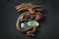 Reserved  Hand Carved Dragon Necklace   Labradorite  Wooden