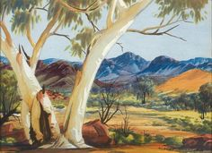 Ghost Gum in West Macdonnell Ranges, Central Australia, Northern Territory - Albert Namatjira 1902 - 1959 Aboriginal History, Aboriginal Culture, Aboriginal Artists, Indigenous Australian Art, Indigenous Art, Australian Artists, Landscape Art, Landscape Paintings, Acrylic Painting Inspiration