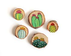 Set of Five Hand-Painted Cactus Decorative Magnets on Wood | Made to Order by walrusandtoad on Etsy https://www.etsy.com/ca/listing/247987903/set-of-five-hand-painted-cactus