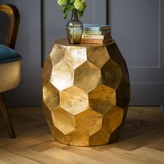 Honeycomb Side Table - gorgeous gold / copper effect side table in unusual quirky design to add interest to white room