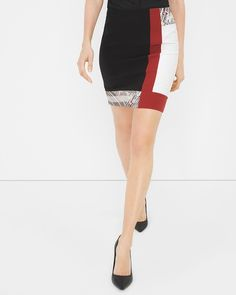 """$70 +""""TAKE AN EXTRA 40% OFF WITH CODE 62787"""" - Colorblock Embroidered Pencil Skirt"""