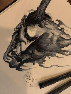 Chronic Ink Tattoo - Toronto Tattoo Hannya mask pen drawing by Tony.