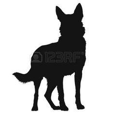animal silhouettes: Eine schwarze Silhouette eines stehenden Schäferhund