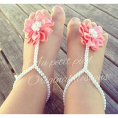 Elastic Girls Infant Imitation Pearl Bow Barefoot Beach Sandals Baby Foot Hot