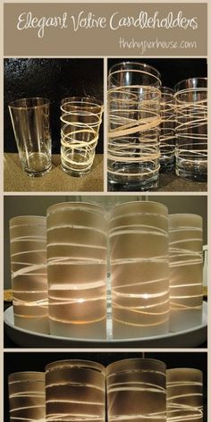 Use dollar store glasses, rubber bands, and spray paint to make beautiful candle holders. Use dollar store glasses, rubber bands, and spray paint to make beautiful candle holders. Diy Projects To Try, Craft Projects, Craft Ideas, Diy Ideas, Cute Crafts, Diy Crafts, Do It Yourself Inspiration, Style Inspiration, Do It Yourself Wedding