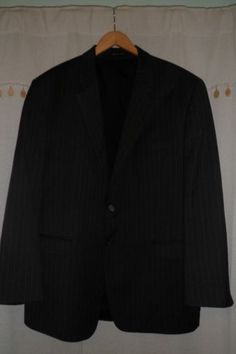 Ralph-Lauren-Gray-Pin-Stripes-100-Wool-Blazer-Sport-Coat-Jacket-EUC-Mens-46R