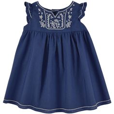 Ultramarine dress made of light jasmine cotton voile. Round neckline and small flounces on the shoulders. Tartine et Chocolat logo buttons in the back. Flower embroideries on the chest. Cross-stitching embroideries on the neckline, on the shoulders and on - $ 100.45