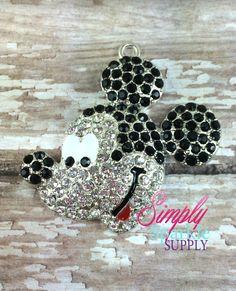 Mickey Rhinestone Chunky Bead Pendant Bling Bubblegum necklace pendant