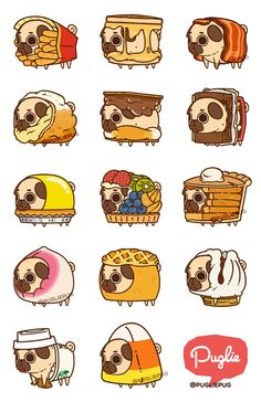 Pugs not drugs Cute Animal Drawings, Kawaii Drawings, Cute Drawings, Cute Puppies, Cute Dogs, Funny Animals, Cute Animals, Pug Art, Cute Doodles