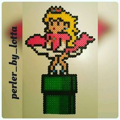 Princess Peach as Marilyn Monroe perler beads by perler_by_lotta