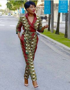 African jumpsuit with two sides pocket, ankara print, African party wear, African clothing - Fashion - African Fashion Designers, African Inspired Fashion, African Print Fashion, Africa Fashion, African Fashion Dresses, Ethnic Fashion, Ankara Fashion, African Outfits, African Clothes