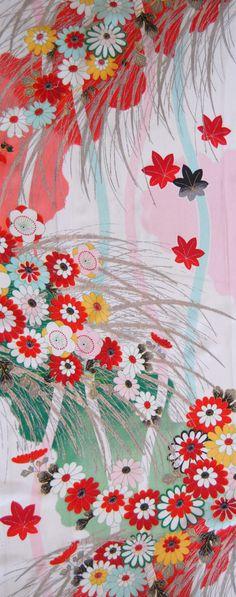 Vintage Japanese Kimono Fabric - Cascade of Flowers